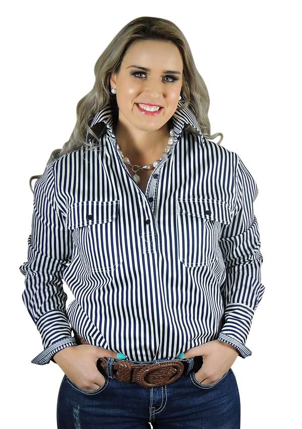 Navy and White Stripe Semi Fitted Shirt
