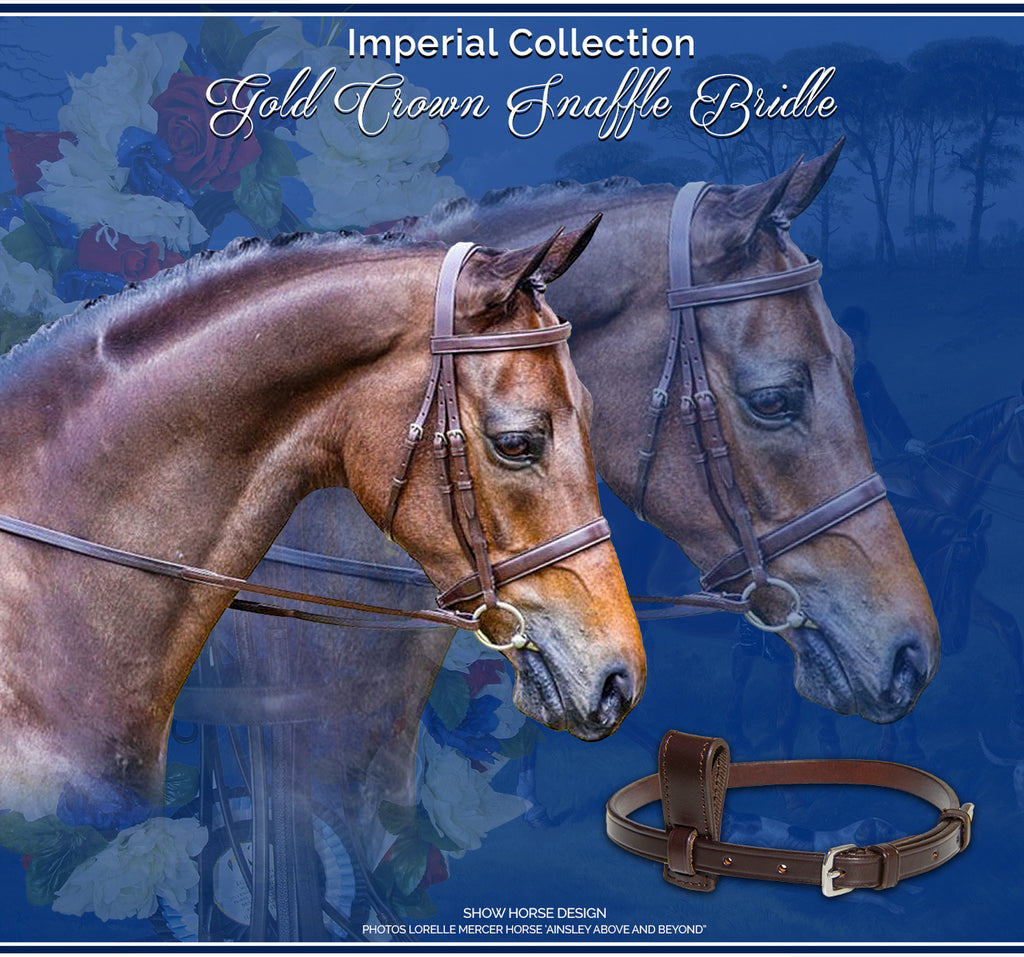 Imperial Collection Gold Crown Snaffle Bridle