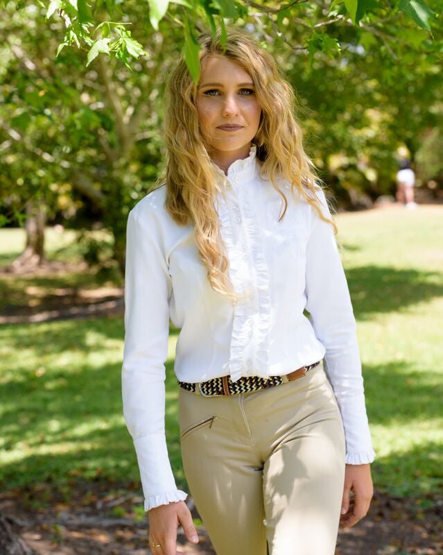 Long Sleeve Ruffle Shirt with pearl buttons