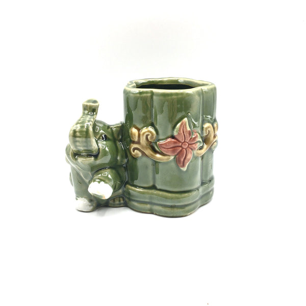 4''High Elephant Glazed Vase For Lucky Bamboo