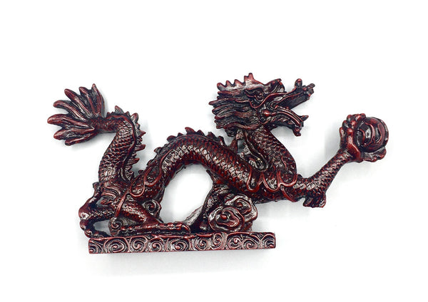 Chinese Feng Shui Dragon Figurine Statue for Luck & Success 8.5 inch Long (Red)