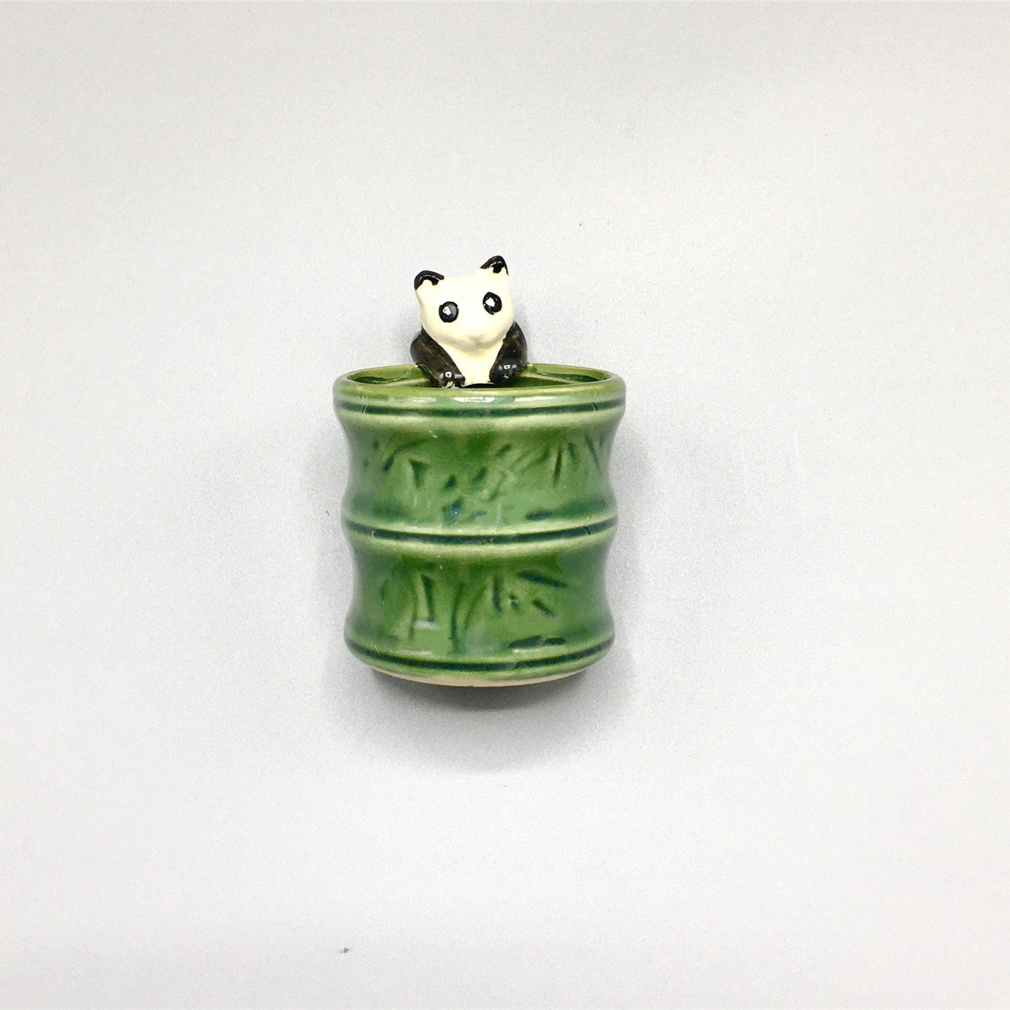 2.25'' x 2.25'' Panda Glazed Vase For Lucky Bamboo