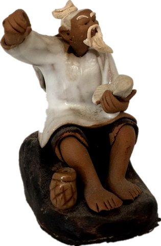 Ceramic Figurine -  Fisherman With Fishing pole 1.25''x 2.75''  white ,Posture B