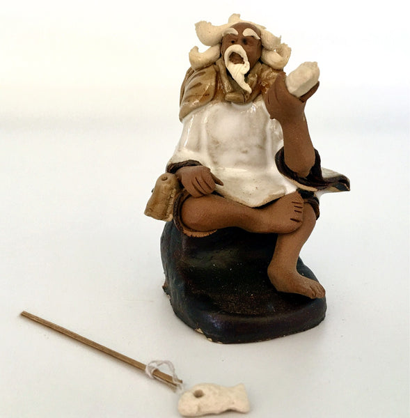 Ceramic Figurine -  Fisherman With Fishing pole 1.25''x 2.75''  white ,Posture C