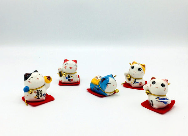 Lucky cat |Fortune cat|Mini Maneki Neko|  Set of 5
