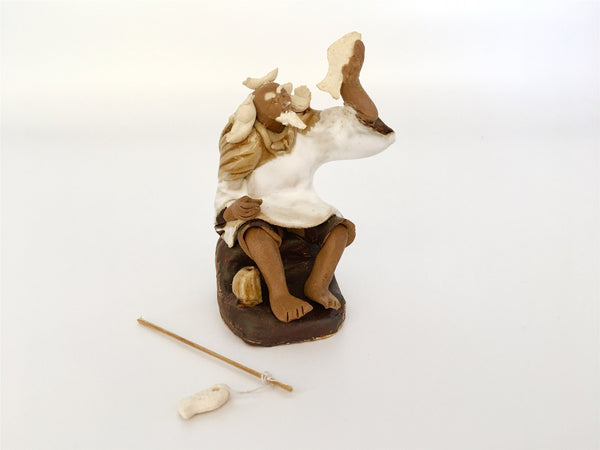 Ceramic Figurine -  Fisherman With Fishing pole 1.25''x 2.75''  white ,Posture A