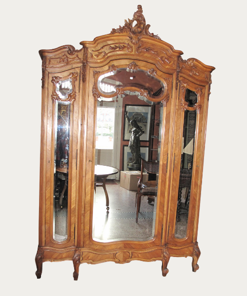 Finely Carved Large Mid 19th Century Louis XV French Armoire With Mirrored Doors