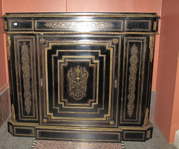 Antique French Boulle Cabinet Napoleon III Empire Style Black With Gold Gilt