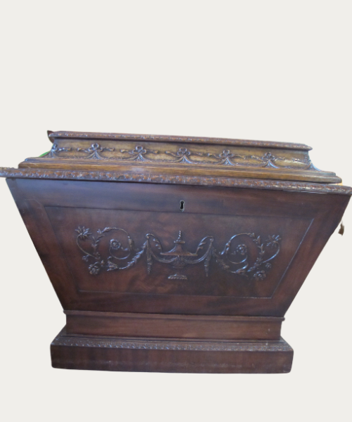Antique Carved Wood William IV Mahogany Cellarette Wine Cooler Chest