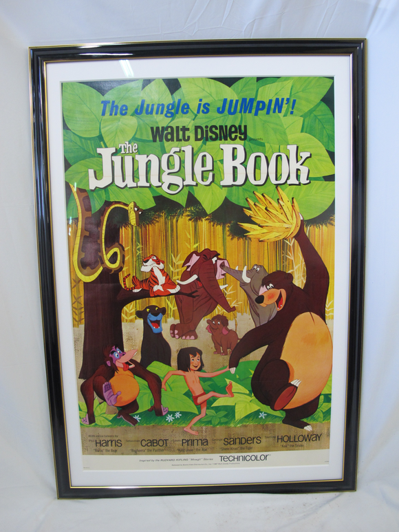Framed Walt Disney JUNGLE BOOK Original Cartoon One Sheet Movie Poster