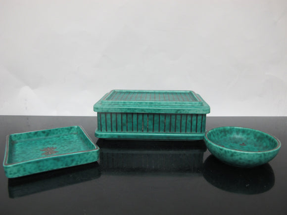 GUSTAVSBERG Sweden ARGENTA 1225 Blue Green Pin Dish Bowl & Box w/Lid VANITY Set