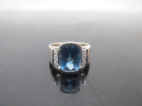 MODERNIST 14k White Gold Bright Blue TOPAZ Diamond Ring Size 5.5