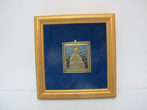 RUSSIAN Early 19th Century Blue Enamel & Bronze SAINT Travel Icon Framed