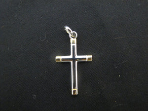 RELIGIOUS 14k White & Yellow Gold CROSS Necklace Pendant 2.5gr