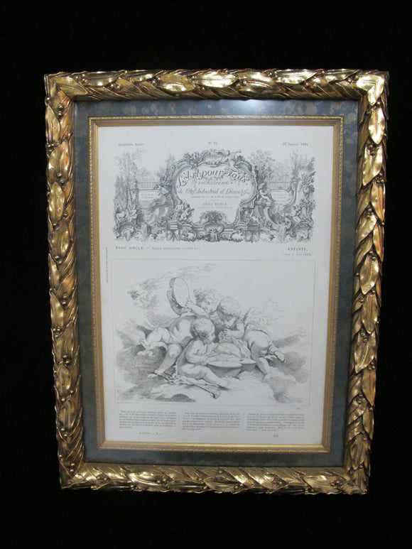 Ornate Gold GILT Framed FRENCH 1864 Decorative Art Design Magazine Illustration
