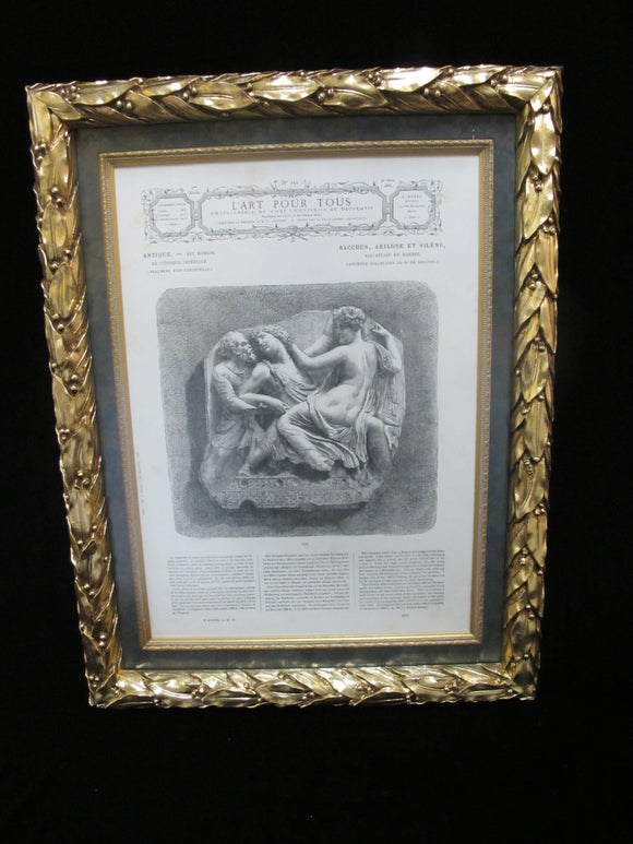 Ornate Gold GILT Framed FRENCH 1866 Decorative Art Design Magazine Illustration