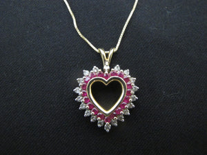 Sweetest RUBY & DIAMOND 14k Yellow Gold HEART Shaped Pendant Necklace