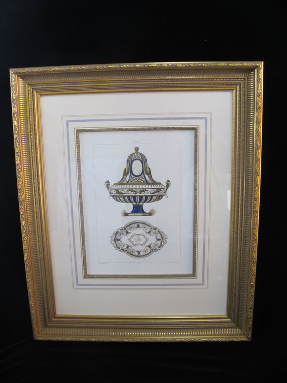 Antique 1892 Fine Gilt Framed ILLUSTRATION of SEVRES PORCELAIN Chromolithograph