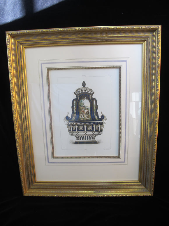 Antique 1892 Chromolithograph Fine Gilt Framed ILLUSTRATION of SEVRES PORCELAIN