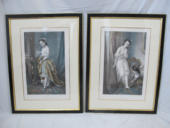 Antique FRENCH Alexandre Charpentier MEZZOTINT Female NUDE Portrait Set