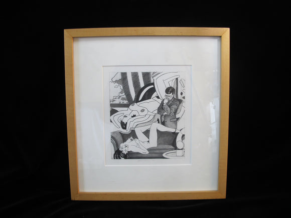 KEVIN T KELLY Modern Erotic Pop Art Framed GRAPHITE on Paper POLITICS of MEANING