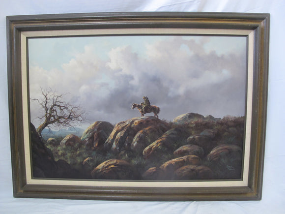 JORGE Tarallo BRAUN Native American on Horse Landscape Oil Painting