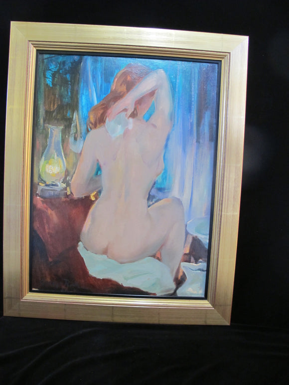GEORGE RICH Gilt Framed Nude Female Portrait BATHING WOMAN Oil Painting