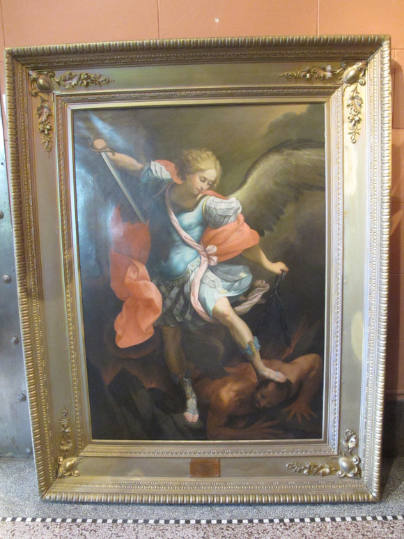 Luigi Bardi After Painting St Michael the Archangel by Guido Reni Gilt Framed Oil Painting