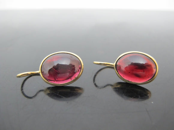 Classic ELENA VOTSI 18k Yellow Gold RUBY Oval Cabochon Drop Earrings