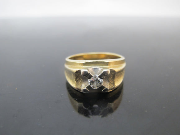 Vintage MODERNIST Style 14k Yellow Gold & Diamond Chunky Men's Ring 9.5
