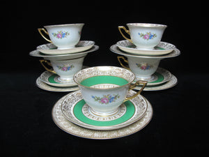 THOMAS Bavaria ROSENTHAL Green Gold Floral 15pc Bread Plate Cup & Saucer Set