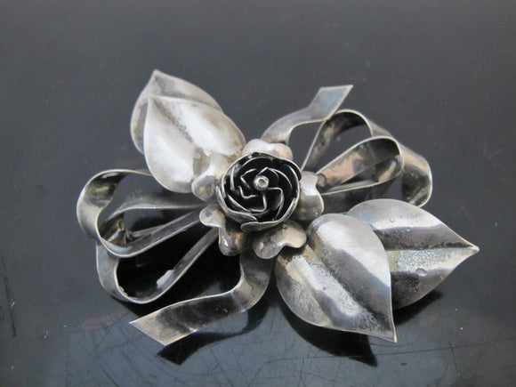 STERLING Silver Vintage HOBE Bow Brooch Pin w/Flower Center