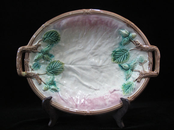 Antique American MAJOLICA Pink With Green Blackberry Vines Bread Serving TRAY