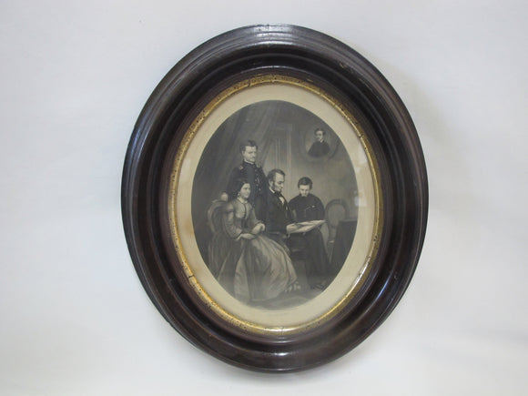 Abraham LINCOLN Family 1865 AB Walter Schell Engraving In Original Frame