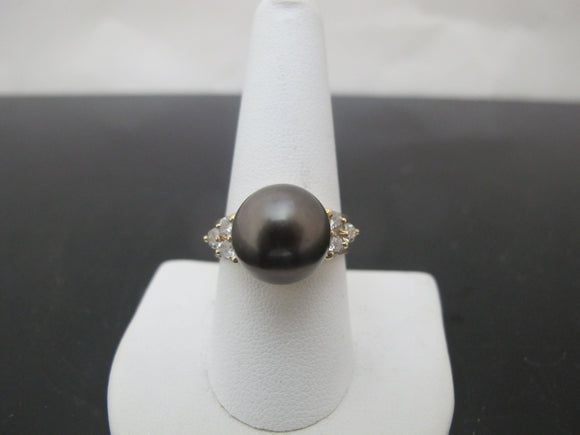 Black TAHITIAN Pearl 14k Yellow Gold DIAMOND Cocktail Ring Size 9