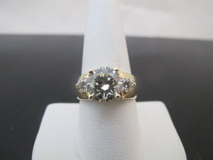 14k Yellow Gold Round BRILLIANT Full Cut 3.61ct DIAMOND Ring Size 9
