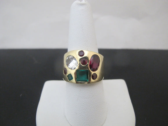 MODERNIST 14k Yellow Gold Oval Faceted SAPPHIRE Ruby & EMERALD Ring Size 8.5