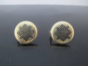 Enamel GREEK Key Design 14k Yellow Gold Post Back Button EARRINGS