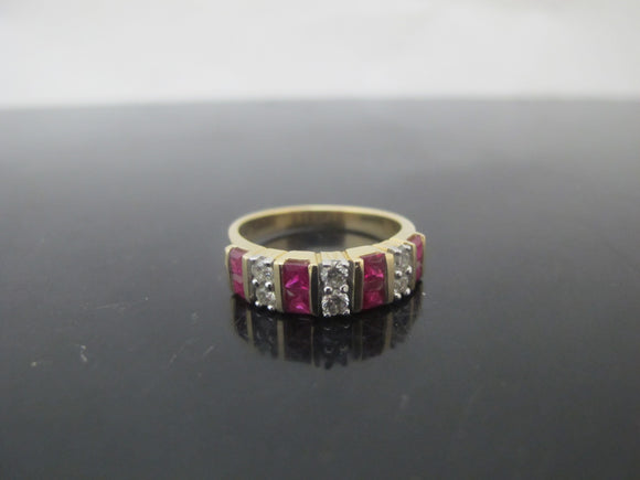 KALLATI 14k Yellow Gold Diamond & RUBY Channel Set Ring Size 7.5