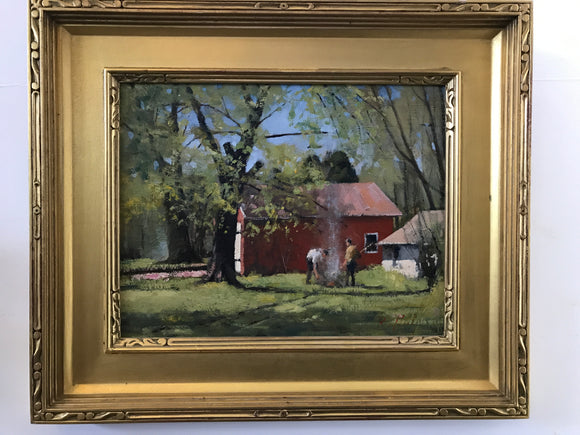PAUL RAFFERTY NY Gilt Framed Oil Painting BEHIND the WHALING MUSEUM