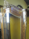 French Louis XV Style Vitrine Gilt Bronze Wood Armoire With Hand Painted Trees and Lovers Design