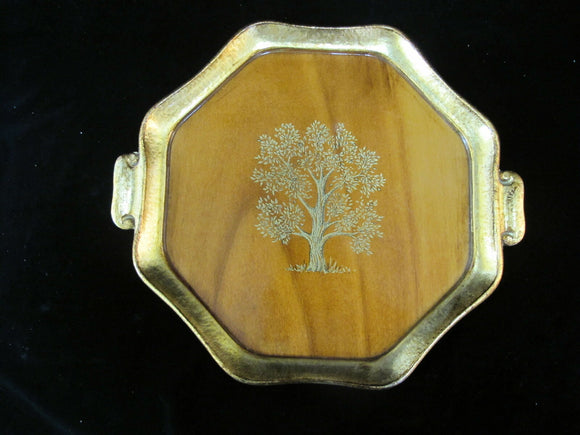 ITALIAN Vietri Gilt Wood TOLE Tray Platter with TREE Design