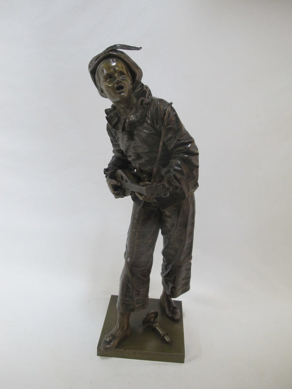 French BRONZE Minstrel JESTER Harlequin with Mandolin Statue by BOURET