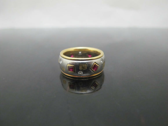 Majestic PLATINUM & 18k Yellow Gold Diamond Ruby ETERNITY Ring