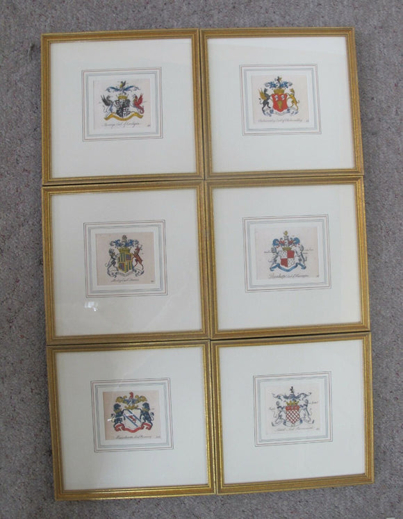 PEERAGE of ENGLAND Arthur Collins Framed Hand Colored ENGRAVINGS Set of 6