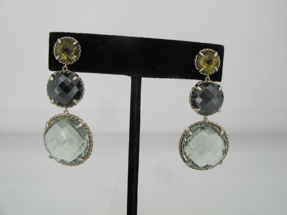 DAVID YURMAN Chatelaine Round Olive QUARTZ Hematine Prasiolite Drop Earrings