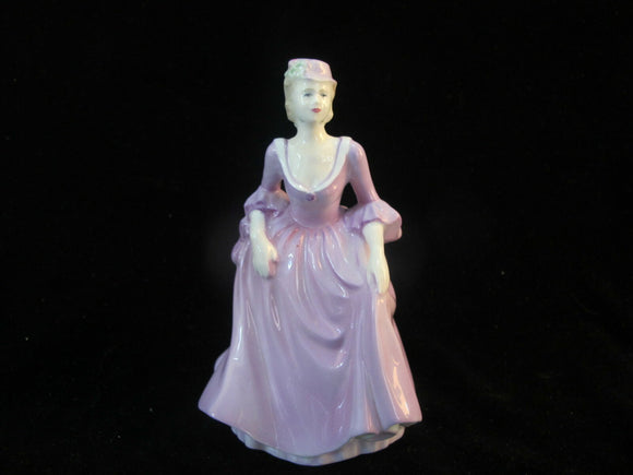 COALPORT Vintage Fashion LADY in LAVENDER w/Hat Bone China Figurine Statue
