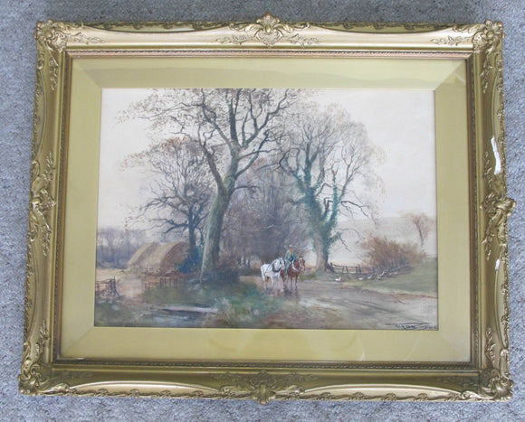 Antique English Watercolor LANDSCAPE Equestrian Painting CHARLES Henry FOX