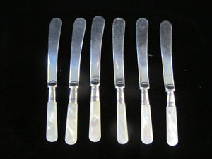 Antique HERBERT BUSHELL & Son EP Silverplate Mother of Pearl 6pc Butter Spreader