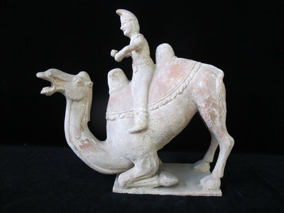 ASIAN Antique Large Terra Cotta Pottery Statue of Man on CAMEL